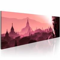 Schilderij -  Rose Oriënt 150X50cm , mistig , 1 luik