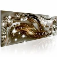 Schilderij - Artistieke linten , zilver goud look