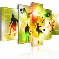 Canvas Schilderij - Energie - Voetbal , geel groen , 5 luik , 2 maten