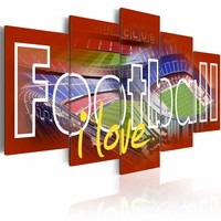 Canvas Schilderij - Football i love - Rood , 5 luik , 2 maten