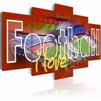 Schilderij - Football i love - Rood , 5 luik