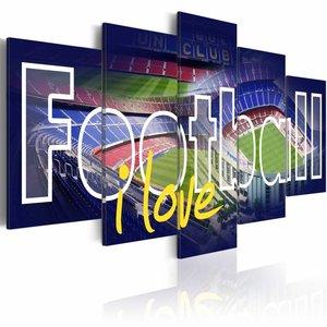 Schilderij - Football i love - Blauw , 5  luik