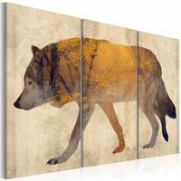 Schilderij - Zwervende Wolf, 3luik