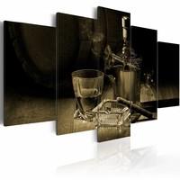 Schilderij - Mannen avond Sepia , whisky en sigaar , 5 luik