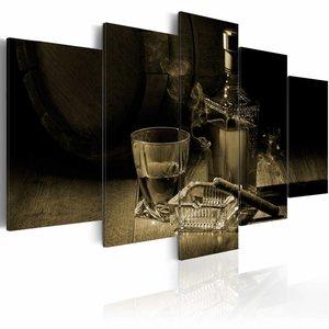 Schilderij - Mannen avond Sepia , whisky en sigaar , 5 luik ,  2 maten