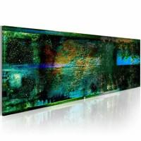 Schilderij - Regen in September 150X50cm , blauw groen , 1 luik