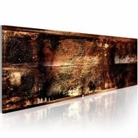Schilderij - November avonden 150X50cm , bruin goud look , 1 luik