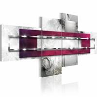Schilderij - In het kader/ Roze, 4luik
