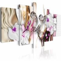 Schilderij - Schilderij - Orchidee in het Roze, 2 Maten, 5luik