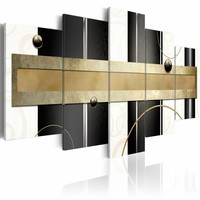 Schilderij - Pad van gedachten, Goud/Zwart-Wit, 5luik
