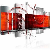 Schilderij - Thema rood, 5luik