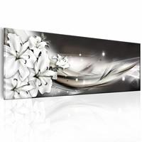 Schilderij - Finesse van de lelie 150X50cm , wit zwart , 1 luik