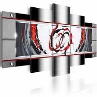 Schilderij - Platinum adem, Rood/grijs, 2 Maten, 5luik