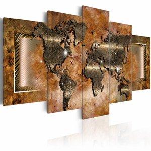 Schilderij - Stalen wereldkaart op Doek, Bruin, 2 Maten, 5luik
