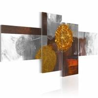 Schilderij - Zon als abstract, Multi-gekleurd, 4luik