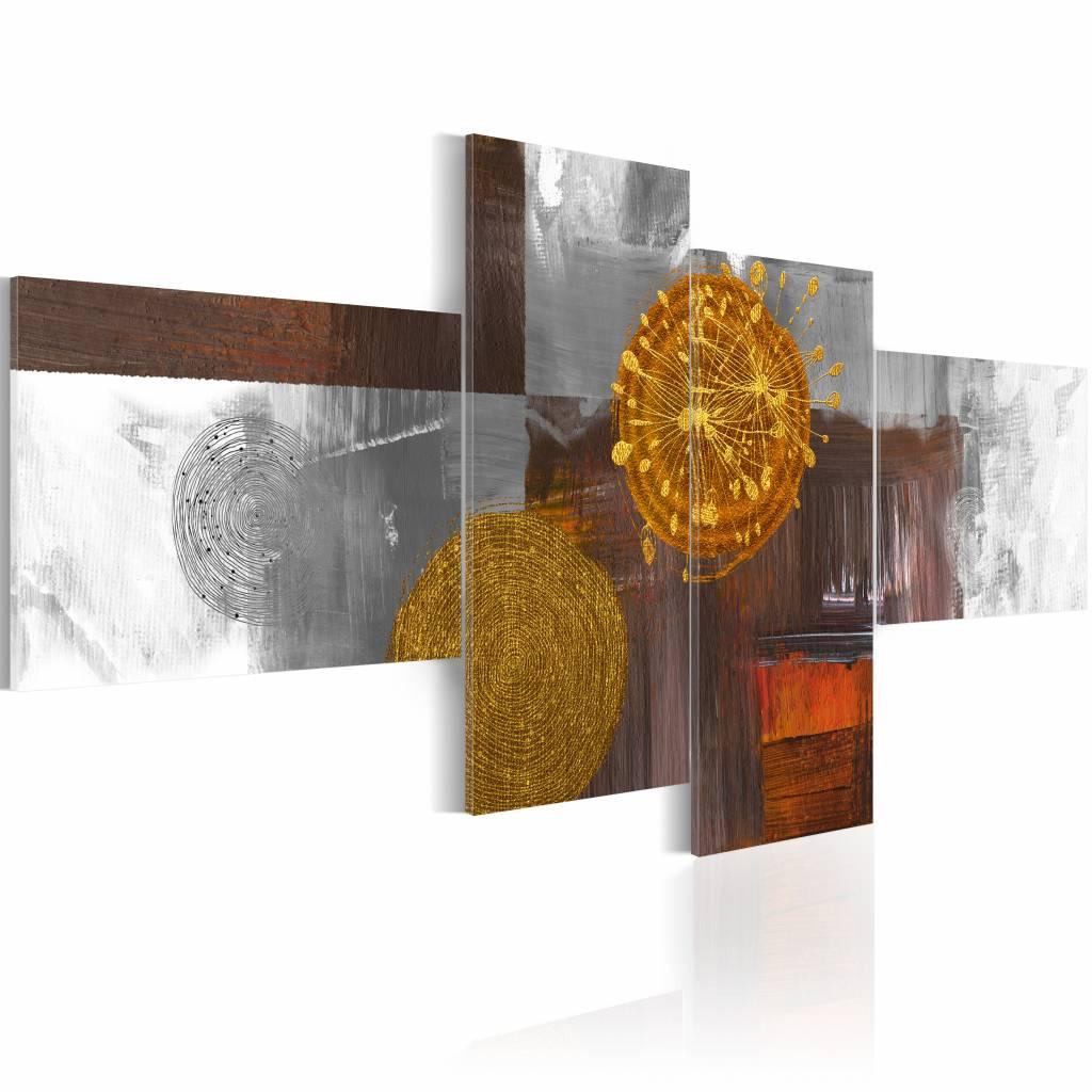 Schilderij - Zon als abstract, Multi-gekleurd, 2 Maten, 4luik