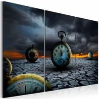 Schilderij - De tijd, Zwart, 2 Maten, 3luik