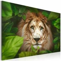 Schilderij - Leeuw in de jungle, Groen/Bruin