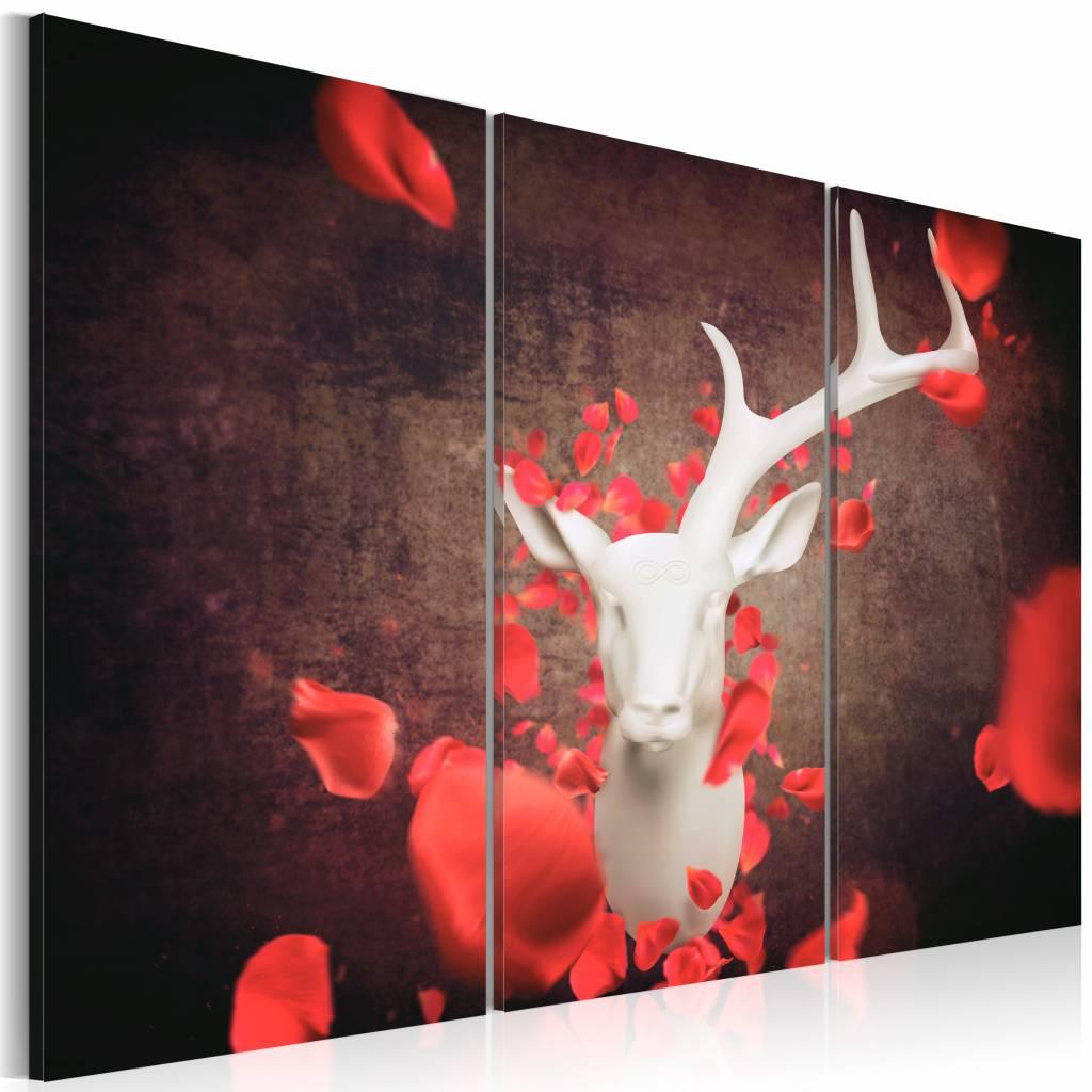 Schilderij - Onsterfelijkheid, Hert, Rood/Bruin, 3luik - 120x80 cm