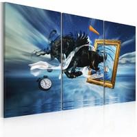 Schilderij - Schilderij in schilderij, Paard drieluik, blauw, 2 Maten, 3luik