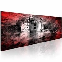 Schilderij - het kasteel 120x40cm, Rood/Grijs, 2 Maten, 1luik
