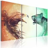 Schilderij - Overleven, Oranje/Groen,  3luik