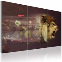 Schilderij - leeuw (abstractie), Bruin, 3luik