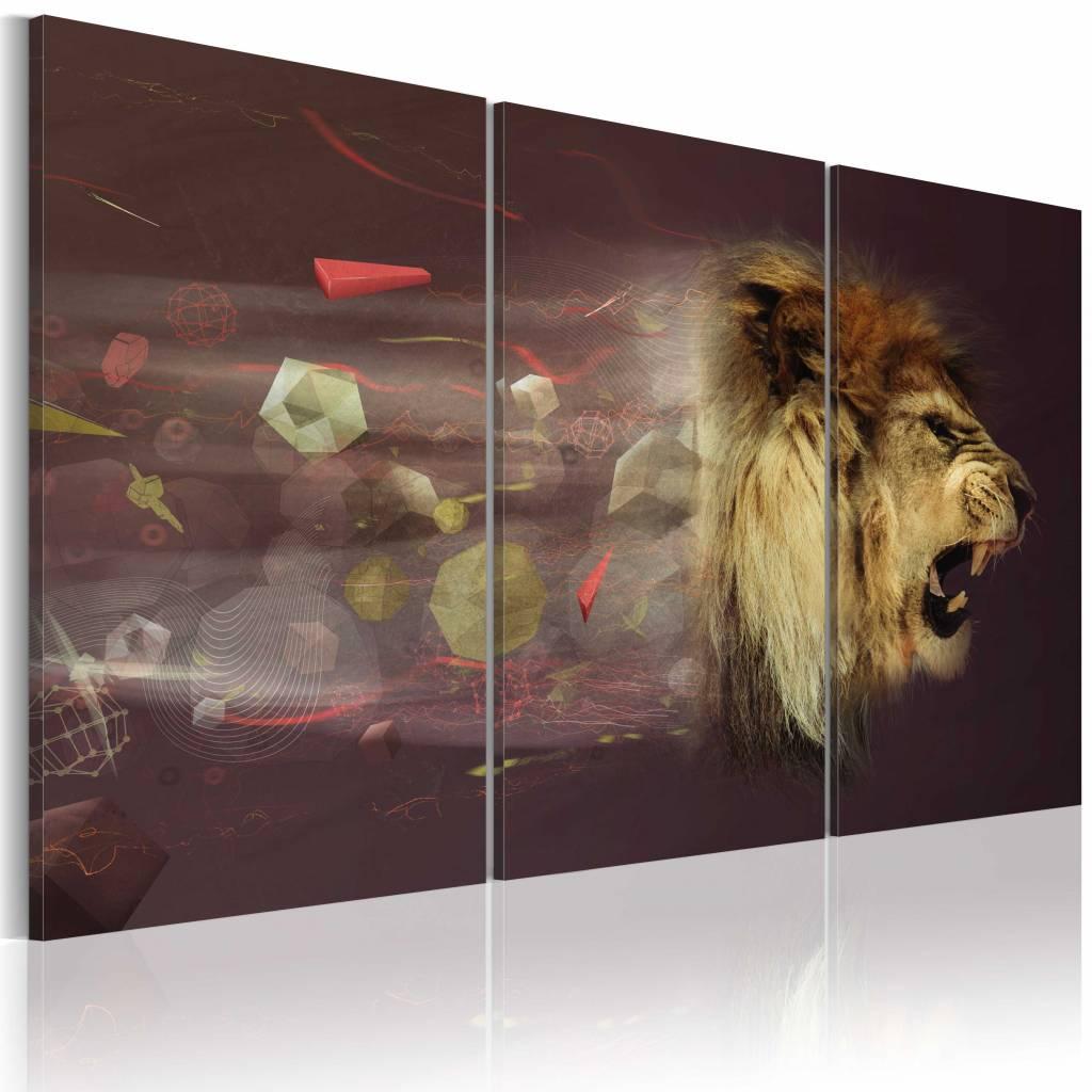 Schilderij - leeuw (abstractie), Bruin , 3luik