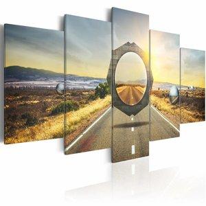 Schilderij - Op de grens van twee werelden, Stargate, 5luik