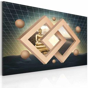 Schilderij - Boeddha (abstractie), Multi-gekleurd, 2 Maten, 1luik