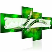 Schilderij - groen  abstract motief,  4luik