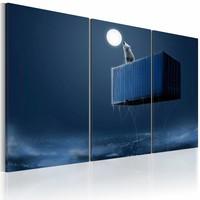 Canvas Schilderij - Huilen naar de maan, Blauw, 2 Maten, 3luik