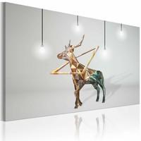 Schilderij - Gouden Hert, Grijs/Goud, print op canvas, wanddecoratie, 1luik