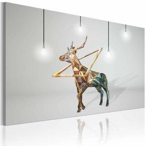 Schilderij - Gouden Hert, Grijs/Goud, 1luik