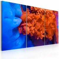 Schilderij - Water versus vuur, Blauw/Oranje, 3luik