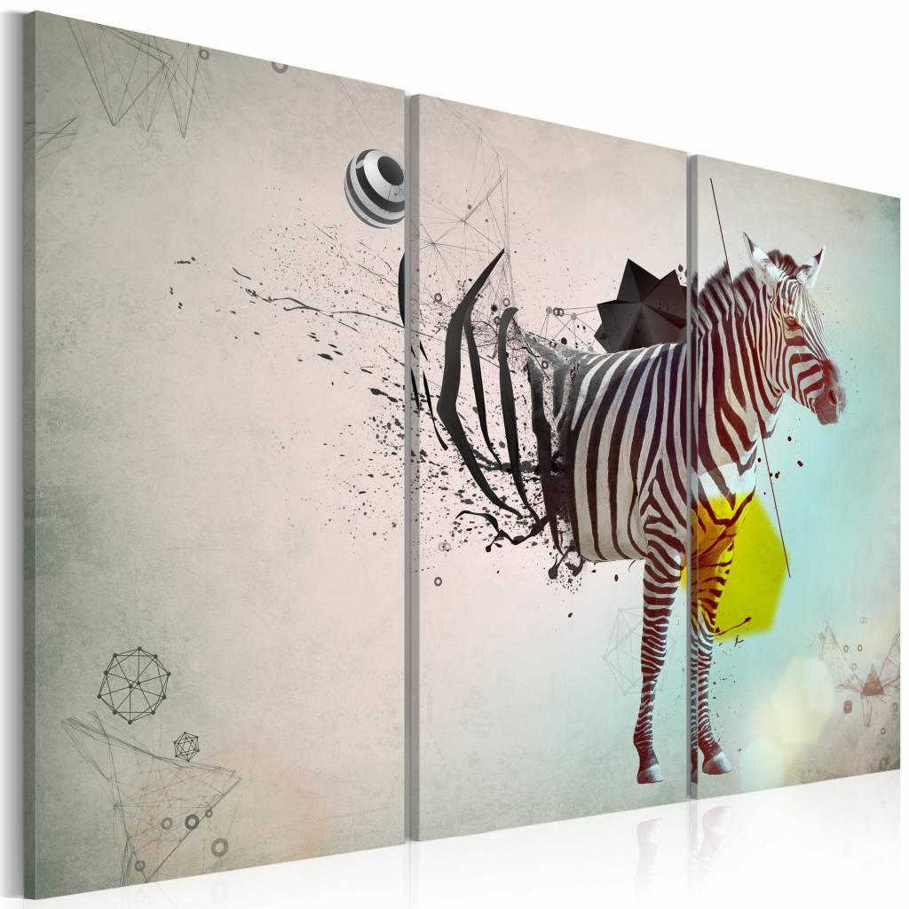 Schilderij - zebra - abstractie, Grijs, 3luik
