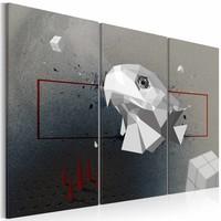 Schilderij - Adelaar, 3D , wit grijs , 3 luik