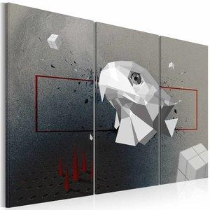 Schilderij - Adelaar, 3D , wit grijs , 3 luik , 2 maten