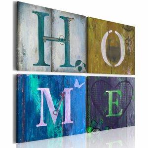 Canvas Schilderij - Voel je thuis, Home , multi kleur , 4 luik , 2 maten