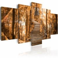 Schilderij - Bospad, Bos , bruin , 5 luik