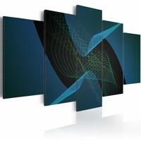 Schilderij - Donker blauwe abstractie , 5 luik