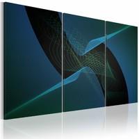 Schilderij - Abstractie in blauw , zwart blauw , 3 luik
