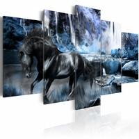 Schilderij - Paard en waterval , zwart blauw , 5 luik