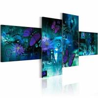 Schilderij - Vlinders in turquoise , 4 luik