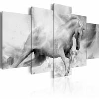 Schilderij - De laatste Eenhoorn , zwart wit , 5 luik , 2 maten
