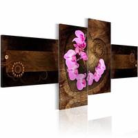 Schilderij - Orchidee op hout , bruin roze , 4 luik , hout look