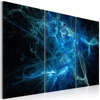 Canvas Schilderij - Elektrische storm , blauw zwart , 3 luik , 2 maten