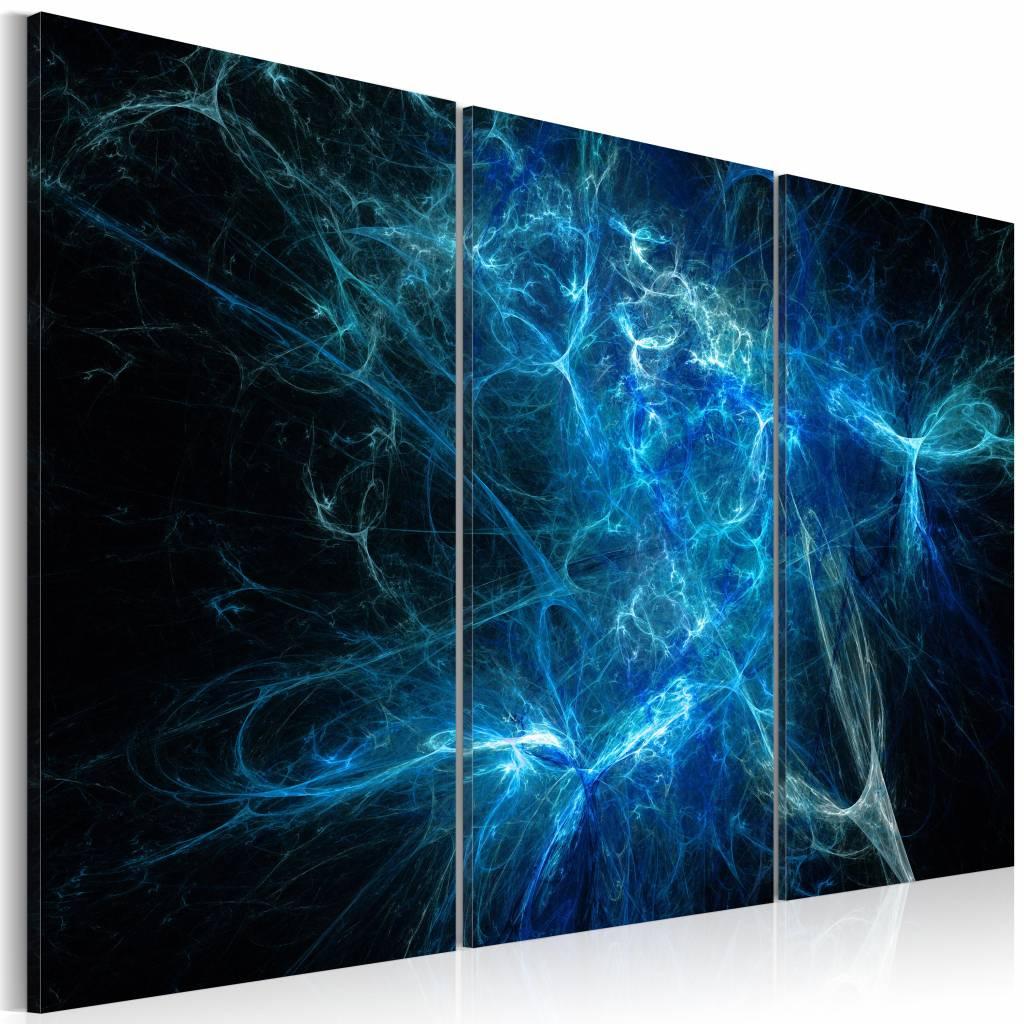Schilderij - Elektrische storm , blauw zwart , 3 luik