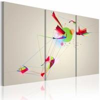 Canvas Schilderij - Vormen en kleuren , multi kleur , 3 luik , 2 maten