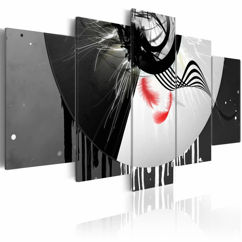 Schilderij - Metaal met nadruk op rood , zwart wit , 5 luik